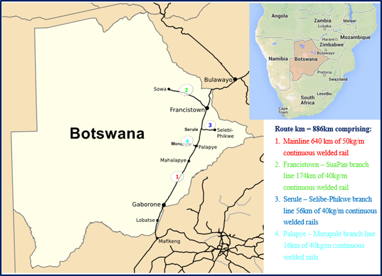 Railway Network Map Diagram Botswana Railways